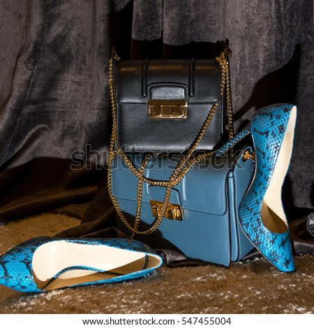 Closeup view image of fashionable women's shoes aside accessories on a dark background
