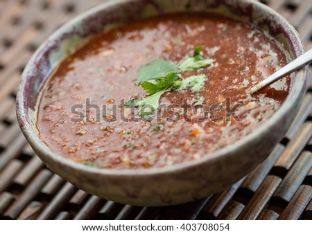 Closeup view of a bowl of freshly made gazpacho soup with cilantro garnish - stock photo
