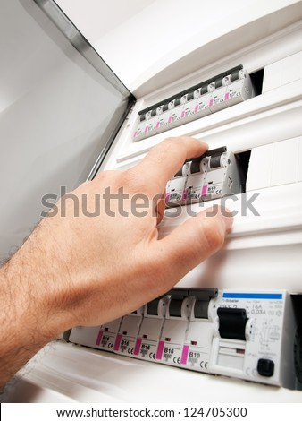 Closeup view of a box with automatic fuses. - stock photo