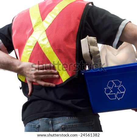 Closeup view of a city worker suffering from back pain - stock photo
