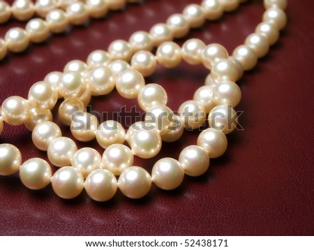 Closeup view of a luxury necklace made of real pearls.