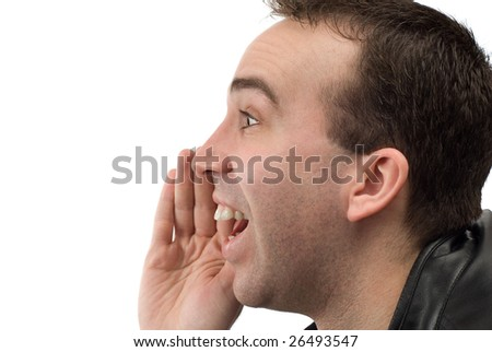 Closeup view of a mans head shouting something, shot with a profile view, isolated against a white background