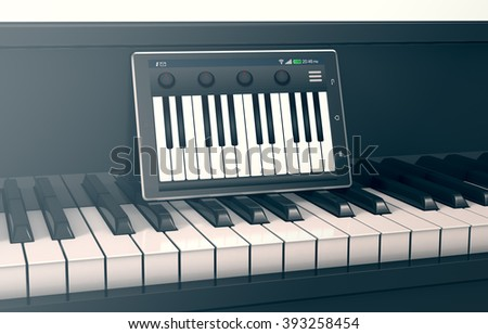 closeup view of a piano with a tablet pc and a music app, concept of music and technology (3d render)