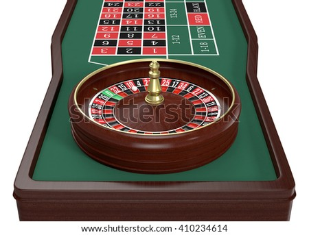 closeup view of a roulette table on white background (3d render)