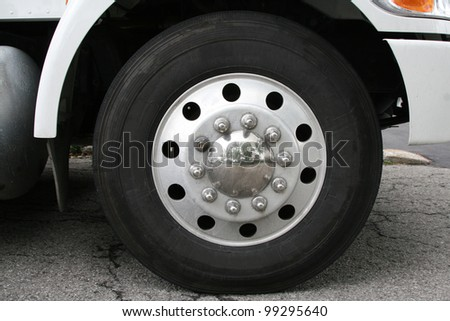 Closeup view of a rubber tire on a truck