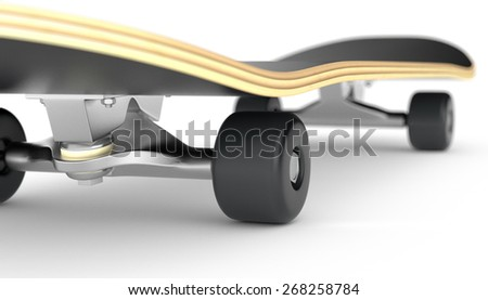closeup view of a skateboard on white background (3d render) - stock photo