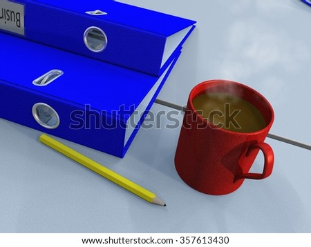 Closeup view of a smoking cup of coffee as well as 2 ring binders and a yellow pencil laying on an office desk