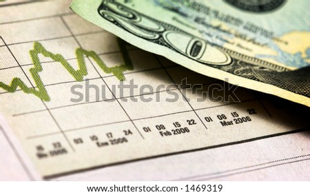 Closeup view of a twenty dollar bill and graph with shallow depth of field with aged colors