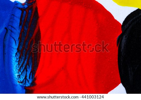 Closeup view of abstract hand painted blue and red acrylic art background on paper texture - stock photo