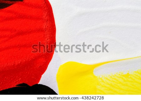 Closeup view of abstract hand painted colorful acrylic art background on paper texture. Fragment of artwork - stock photo