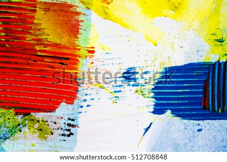 Closeup view of abstract hand painted colorful acrylic art background on paper texture. Fragment of artwork