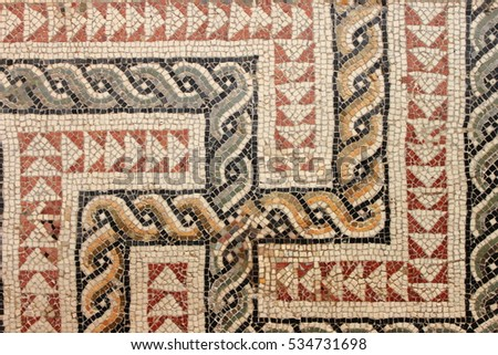 closeup view of an ancient roman mosaic - Ancient Rome Designs