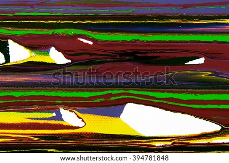 Closeup view of an original strips painting. Hand painted abstract grunge background. Multicolored texture with space for text or image. Fragment of artwork, modern art, contemporary art. Mixed media - stock photo