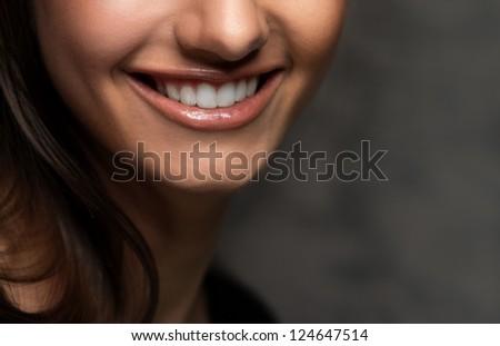 Closeup view of beautiful smile - stock photo