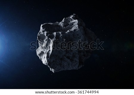 Closeup View of Big Asteroid in Space. Elements of this image furnished by NASA - stock photo
