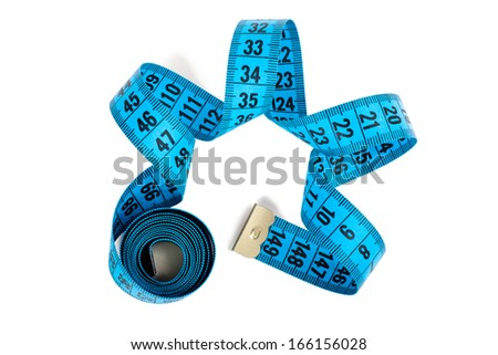 Closeup view of blue measuring tape isolated over white background - stock photo