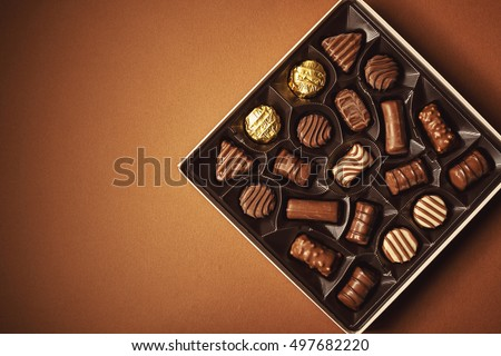 Closeup view of box of chocolates, view from above.