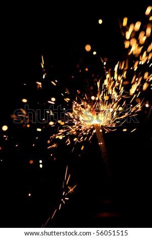 closeup view of burning sparkler - stock photo