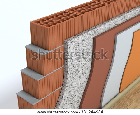 closeup view of cross-section of a wall. All the layers are visible. thermal insulation (3d render) - stock photo