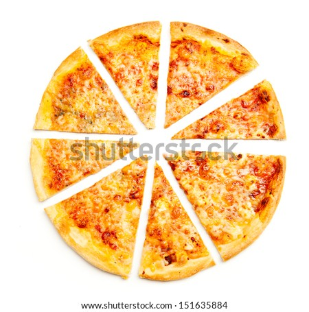 Closeup view of four cheese pizza isolated over white - stock photo
