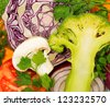 Closeup view of fresh vegetables - stock photo