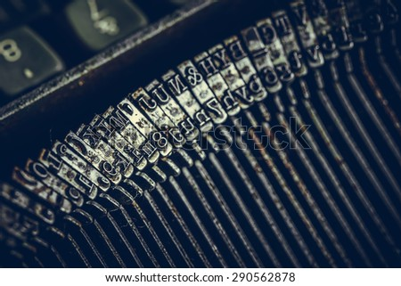 Closeup view of old typewriter keys - stock photo