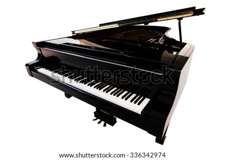 Closeup view of one beautiful big shiny black open piano forte with white key board standing in studio isolated on white background, horizontal picture - stock photo