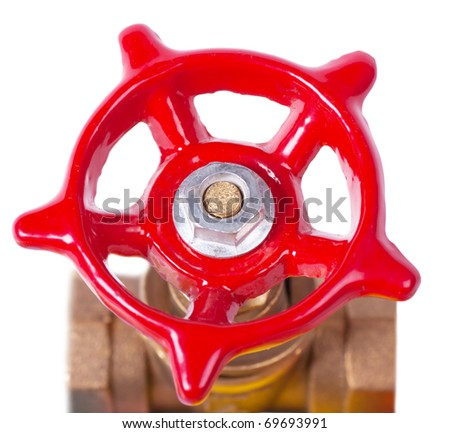 Closeup view of red valve isolated on the white - stock photo