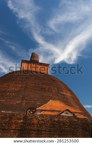 Closeup view of the Jetavan the oldest Dagoba in Anuradhapura, UNESCO, Sri Lanka, Asia - stock photo