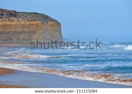 Closeup view of the shoreline. Famous rock formations. Great Ocean Road, Victoria, Australia. - stock photo