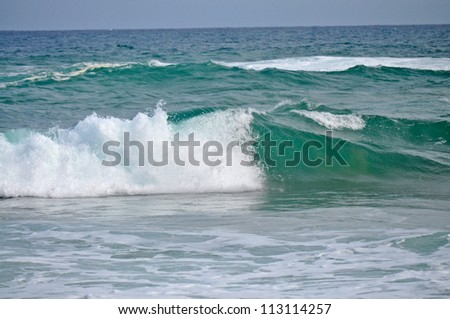Closeup view of the shoreline. Ocean at Surfers Paradise. Gold Coast, Queensland, Australia