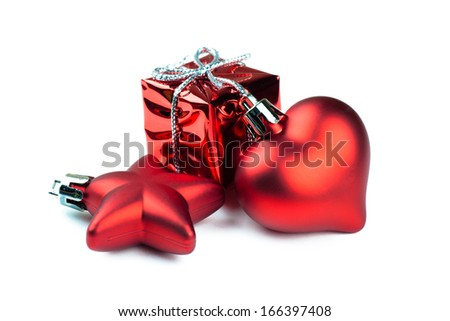 Closeup view of vibrant red christmas decorations - stock photo
