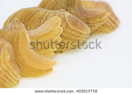 Closeup view on liquorice nutmeg.  Dessert or snack foodstuff.