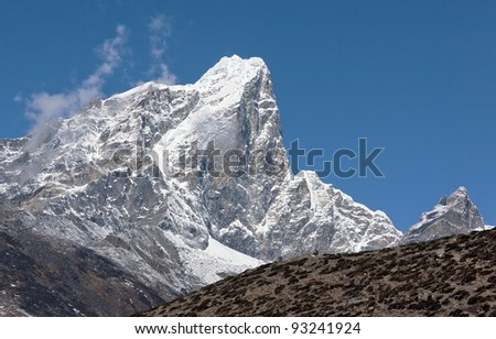 Closeup view to the peak Tabuche from the village of Dingboche in the valley Chhukhung - Nepal, Himalayas