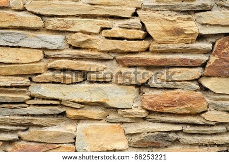 Closeup view to the stone wall.