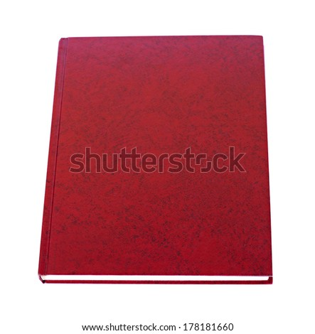 Closeup vinous book lying with blank cover isolated