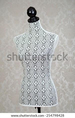 closeup vintage dress form - stock photo