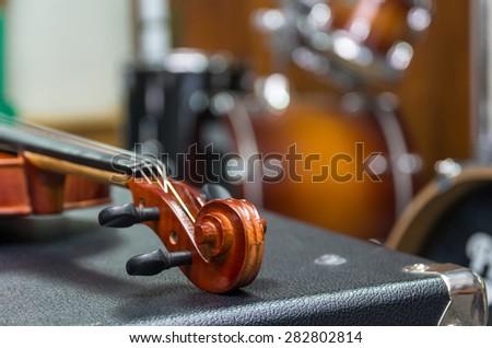 Closeup Violin orchestra musical instruments - stock photo