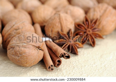 closeup walnut with cinnamon and star anise  on table - stock photo