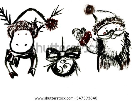 Closeup watercolor aquarelle painting rough draft hand drawn silhouette sketches of New Year Christmas symbols deer ball fir-tree decoration Santa Claus black on white background, horizontal picture