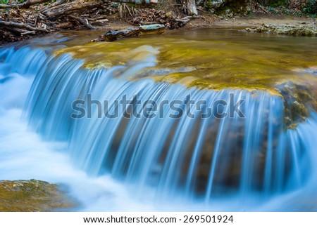 closeup waterfall - stock photo