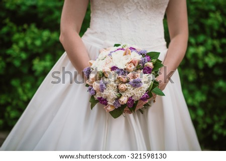 closeup wedding bouquet - soft  focus - stock photo