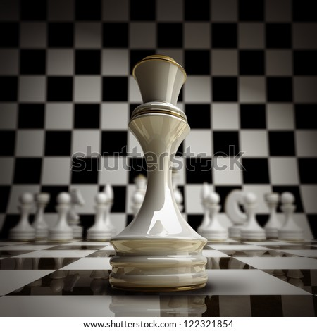 closeup white chess Queen background 3d illustration. high resolution