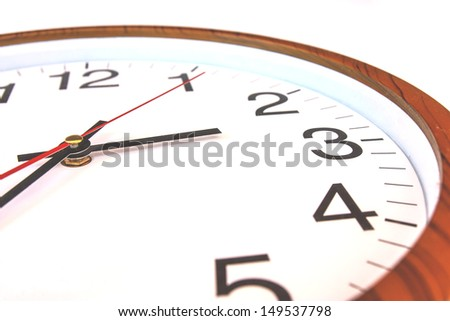Closeup white clock face on white background - stock photo