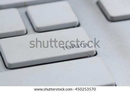 closeup white keyboard - stock photo