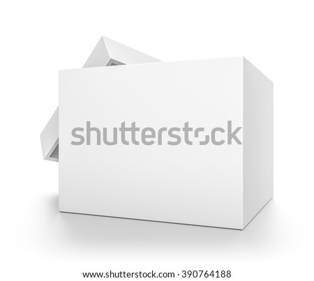 Closeup white open cube blank box with cover isolated on white background. - stock photo