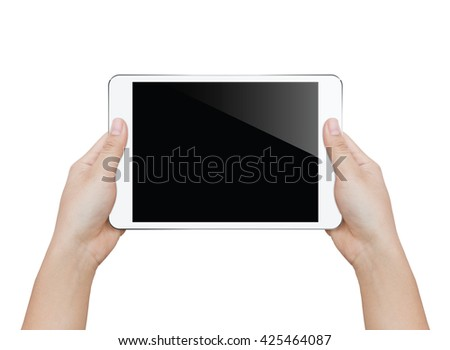 closeup woman hand holding white tablet isolated clipping patch inside image data