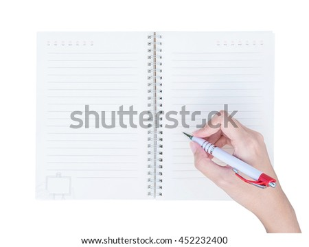 Closeup woman hand writing on note book with line in top view isolated on white background - stock photo