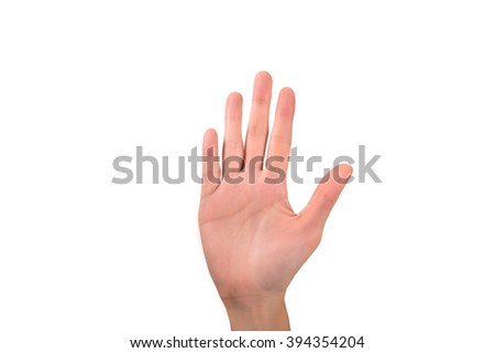 closeup woman right hand raises up with five fingers on white background - stock photo