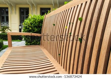 Closeup Wooden Bench - stock photo